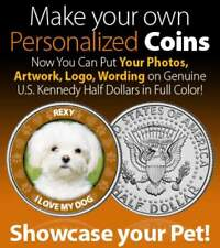Put Photo of Your Dog on JFK Half Dollar FIRST TIME EVER Pet Personalized Coin
