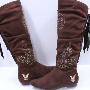 Rocawear Knee High Boots Size US 6.5B EUR 37 UK4 Kenji Dark Brown Zipper Laceup