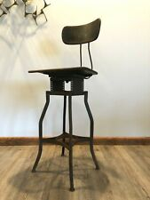 Vintage Uhl Toledo Tall Drafting Stool Desk Chair Industrial Antique Machine Age
