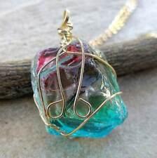 Handmade Rough Rainbow Solar Quartz Crystal Necklace (Pendant + Chain) #P17782