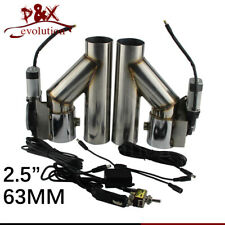 """2.5"""" 63mm Dual Electric Exhaust Cutout Dump Bypass Valve w/ Switch Control Kit"""
