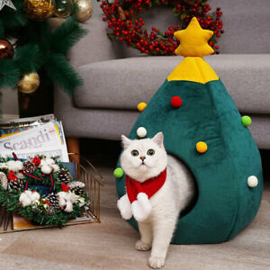Christmas Tree Shape Bed Pets Cat Nest Puppy Cave Warm Soft Mat House SuppliBQA