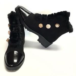 Nanette Lepore Ibiza Womens 7.5 M Faux Fur Zip Up Ankle Boots Black Rhinestones