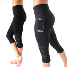 Women Sports Mesh Leggings Cropped Pants Stretch Yoga Gym Trousers Plus Size FQ