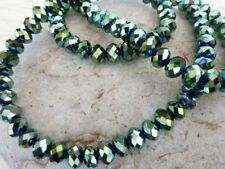 100 pce Tanzanite Metallic Green Electroplate Faceted Glass Beads 6mm x 5mm