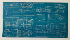 2 Blueprints Boat Design Bottom Crusier Twin Outboard Cruiser Motor Boating