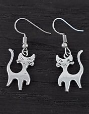 Modern Silver Mini Cute Cat Earrings BN Gift Idea