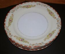 LOT OF 5 DINNER PLATES CR TUILLERIE JAPAN FINE CHINA HAND PAINTED RED TRIM 9 3/4