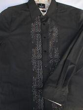 Marc Ecko Mens Button Front Long Sleeve Cotton Black Shirt Large L