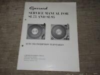 Garrard SL75 SL95 turntable Original Service Manual