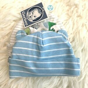 NWT Lot of 3 Baby Boys Hats Gerber Set White Blue Striped Dino Size 0-6 months