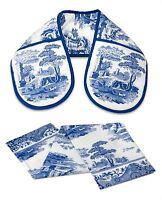 CLASSIC BLUE ITALIAN FLORAL BLUE WHITE DOUBLE OVEN GLOVE & TEA TOWEL SET