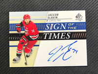 2019-20 UPPER DECK SP AUTHENTIC JACCOB SLAVIN SIGN OF THE TIMES AUTO #SOTT-JS