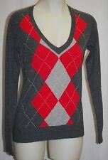 AQUA 100% Cashmere Argyle V-Neck Sweater M $148 NWT FREE SHIPPING