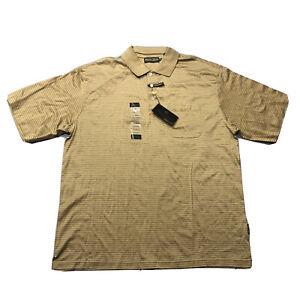 NWT Men's Donald J Trump Signature Collection Gold Short Sleeve Polo Shirt Sz XL