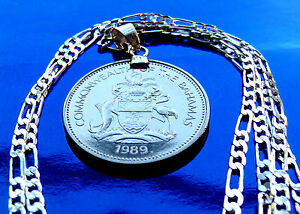 """1989 BAHAMAS Coat of Arms Coin Pendant on 24"""" 925 ITALIAN Sterling Silver Chain"""