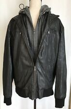 MEN'S FOREIGN EXCHANGE FAUX LEATHER BLACK JACKET