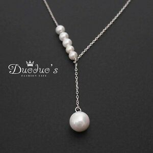 925 Sterling Silver 8mm Round Special Off-White Pearl Pendant Necklace