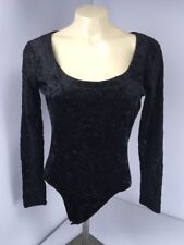 Jazz Sport CA Body Suit Black Velvet Illusion VTG 90s Plunging Festival Boho EDC