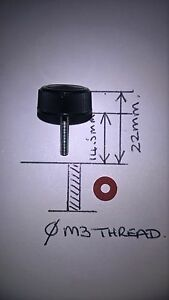 Fishing Reel Handle Universal Black  Screw Cap Bearing Cover & Washer. M3 Metric