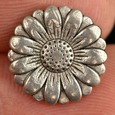 """VTG Silver Tone Realistic Metal Sewing Button Daisy Flower 9/16"""""""