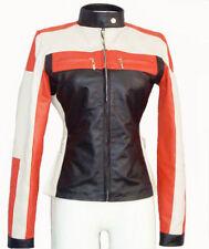 Women Biker Motorcycle Multi-Color Leather Jacket Sz S