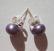 Lavender 7mm Button Round Sea Shell Pearl Earrings Silver Stick Butterfly Stud
