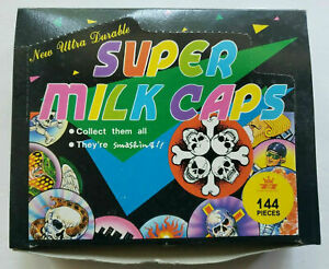 1994 7&7 ADORN GIFT NEW DISPLAY BOX WITH 144 MILK CAPS/POGS HOLOGRAPHIC NEW