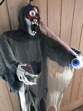 halloween Hanging Skeleton With Severed Eye - Moves / Lights - Great Prop - New