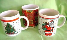 Mugs Santa Tree Set of 3 Vintage Look Ceramic Coffee Tea Gibson Dept 14 Other