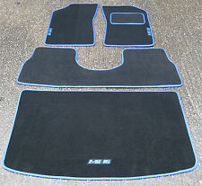 Tapis de Voiture Noir/Bleu pour Peugeot 205 Gti + Mi16 Logos + Coffre + Selle