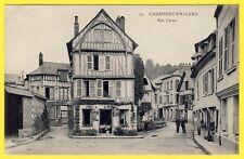 cpa RARE CAUDEBEC en CAUX (Seine Maritime) Rue CARON Animée Maison à Colombages