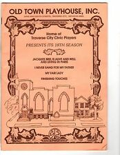 Old Town Playhouse Inc. Program My Fair Lady Finishing Touches Sang Michigan DK2