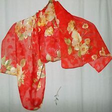 Gold Roses & Olive Leaves on Red Background, Silk Oblong Scarf