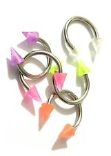 5 x Assorted Colours Spike Horseshoe Ring 8mm x 1mm Mini Curved Barbell Bar
