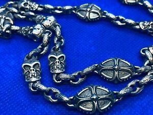 "$2895 Scott Kay Unkaged Sterling Silver Skull Necklace 28"" RARE"