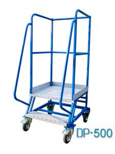 Fahrbare Podestleiter Treppen mit Rollen 1 Stufe Stahl Leiter Plattform DP500