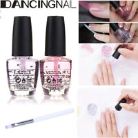 2pcs Nail Art Polish Natural Base Coat & Clear Top Coat Varnish Set 15ml + Brush
