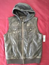 BAR III Pleather Trucker Vest Brown Size L MSRP $79.50