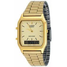 Casio Mens Classic Combi Quartz Wrist Watch Gold Stainless Steel Band AQ230GA/9D