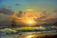 Wall Art Print Dusk Seascape Wave Oil painting HD Giclee Printed on canvas P1347