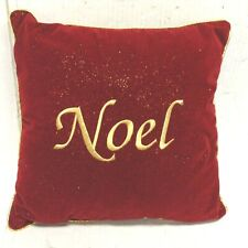 Christmas Red Velvet Square Noel Gold Glitter Sparkle Pillow Sofa Bed Throw