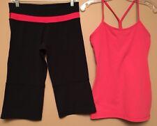 Lululemon Size 6 Black Capri Pants & Pink Power Y Tank Top Women LOT OF 2