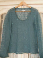 Jigsaw Emerald Green Sparkly Lace Knit Mohair Mix Jumper Sweater - Size Medium
