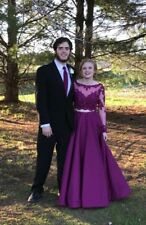 Mori Lee Purple Long Sleeve Prom Dress Two Piece Size 2 COMES WITH MATCHING TIE