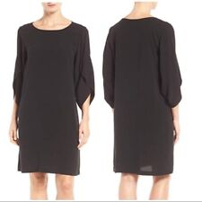 NWT Eileen Fisher Black Silk Georgette VShort Sleeve Shift Dress $298 XS S M XL