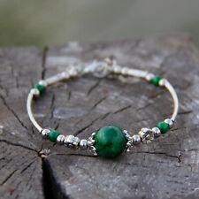 Tibetan silver bracelet Round Green chalcedony Open adjust size Charm Jewelry