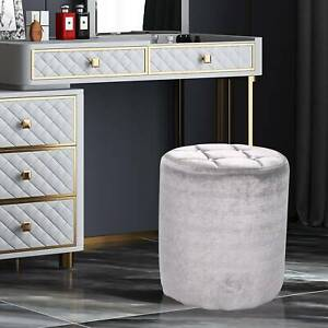 Retro Velvet Round Stool Dressing Table Stool Chair Vanity Footstool Guest Seat