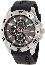 Nautica Men's A14609G NST 06 Multifunction Grey Dial / Black Resin Strap Watch