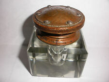 Antique Joseph Heinrich Arts Crafts hammered copper wood silver crystal inkwell